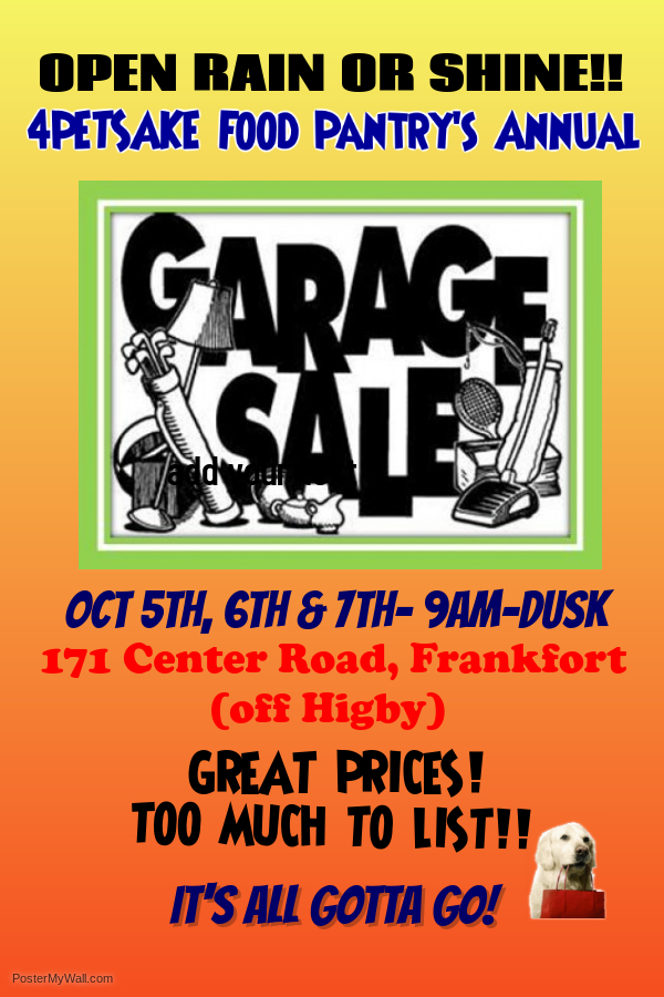 4PetSake's Annual Indoor Garage Sale @  |  |  |