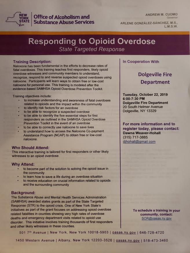 Responding to Opioid Overdose Community Training @  |  |  |