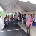 Lotsa freebies including ice cream. That's Toby from Gloversville in the red shirt on the right. Fulton County Federal Credit Union 40th Annversary, Cash Cube, 6-22-12