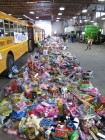 About 20,000 toys lined up & ready for the 11 charities, Stuff the Bus Finale 2012