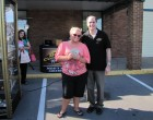 Ashley Schack of Herkimer won $86 in the Cash Cube at Lennon's Jewelers! With Bug Country's Dave Silvers