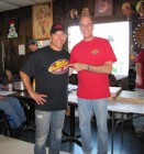 Sean Patrick McGraw models Bug Country t-shirt with Dave Silvers, HALO Hoedown, 9-16-12