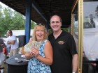 A happy Margaret Thomas of St Johnsville won $97 in the Cash Cube at Blue Diamond Pools, Nelliston Grand Prize Giveaway, 9-8-12