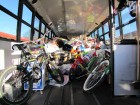 Rear view of large Birnie Bus School Bus, no seats, Stuff the Bus Finale 2012