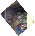 FULL Storage unit after Stuff the Bus, Toys R Us New Hartford, 12-8-12